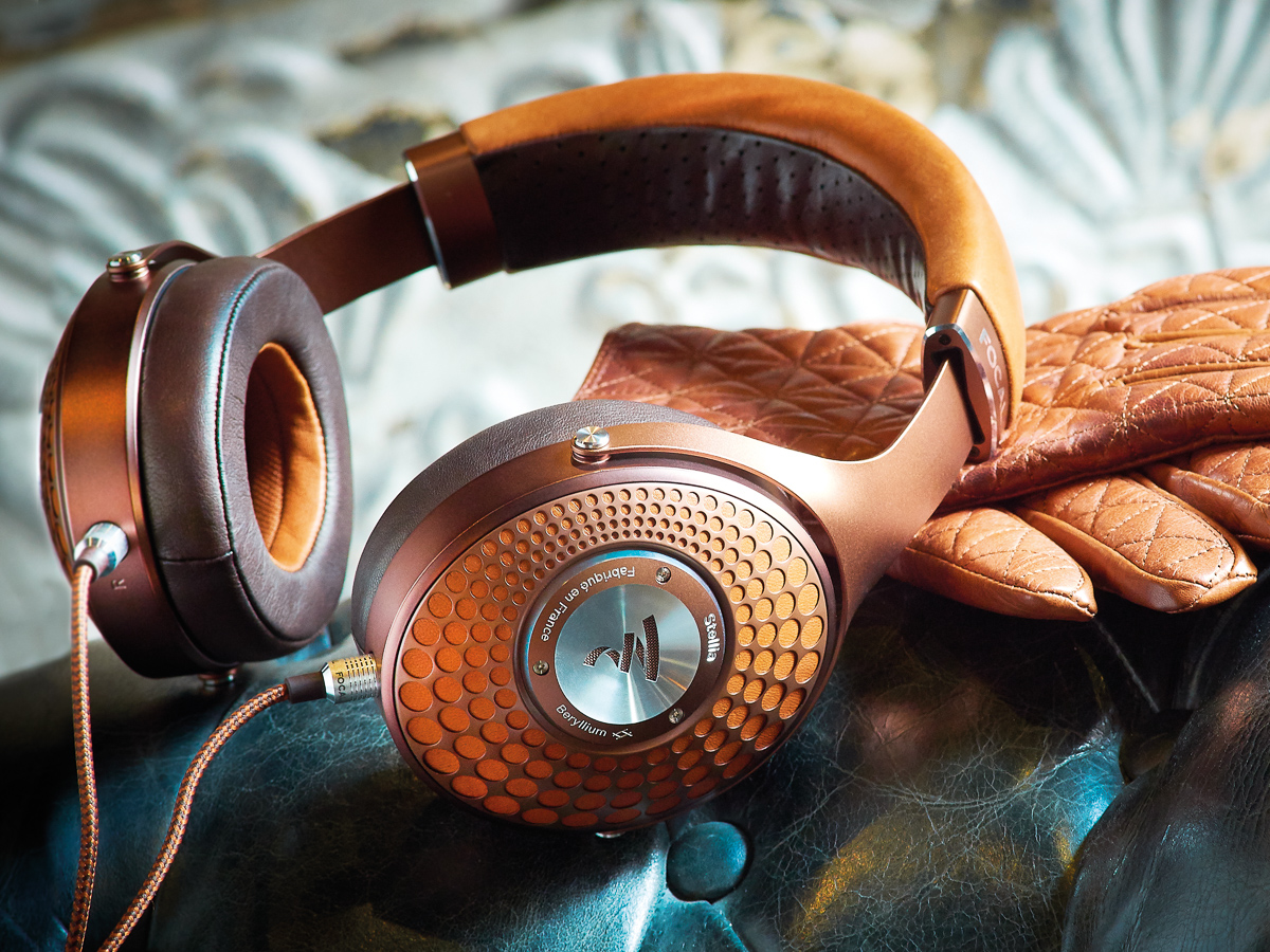 Focal Stellia headphones on leather gloves